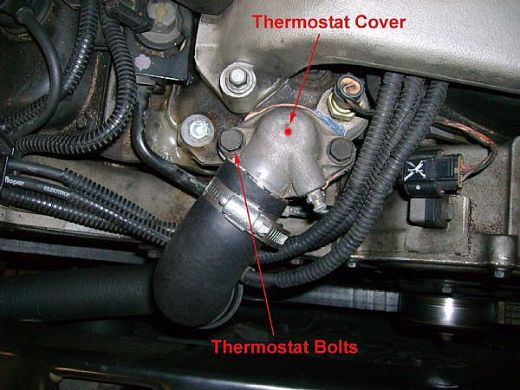Where is the location of a car's thermostat?